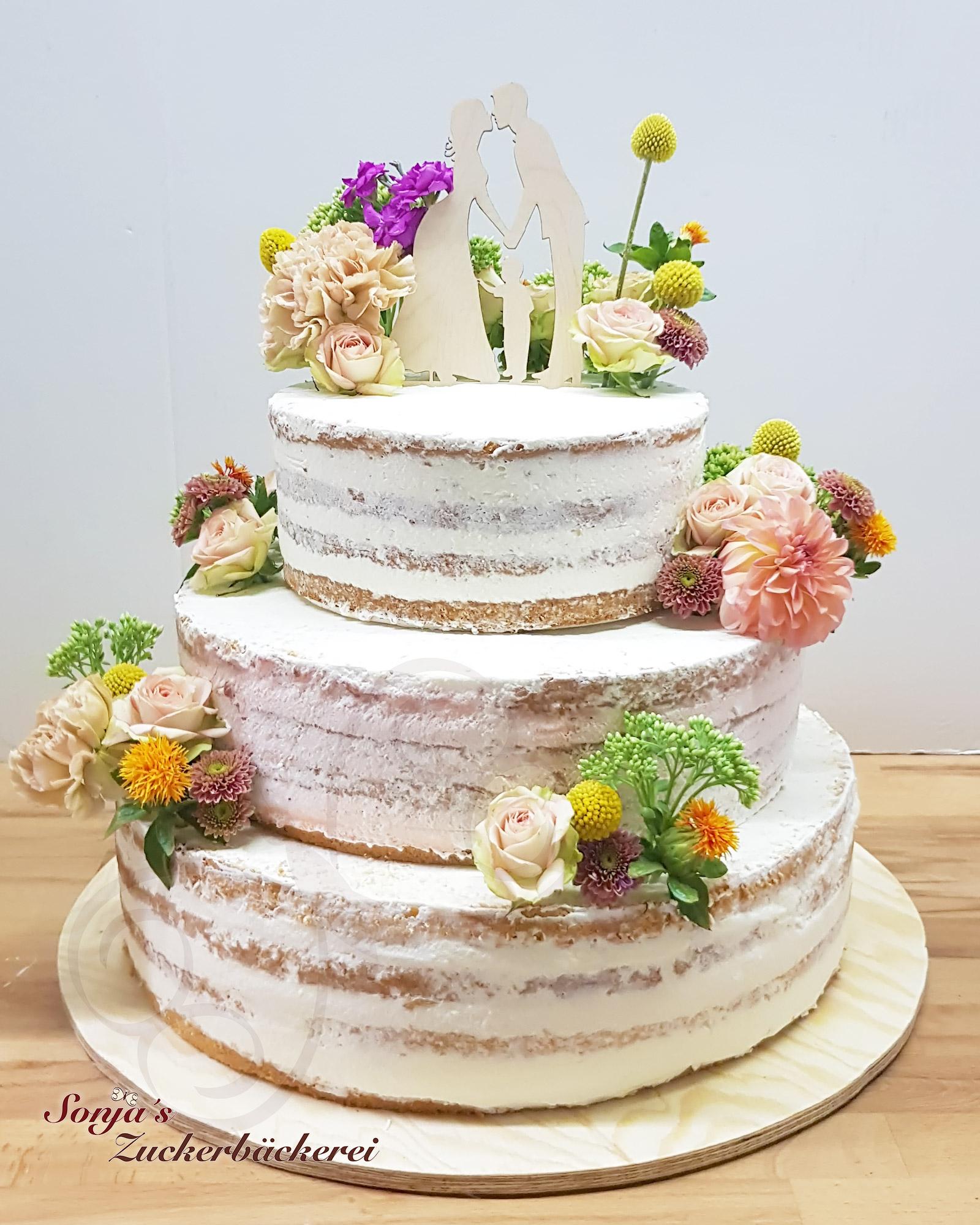 Hochzeitstorte Semi Naked Mit Echten Blumen Sonja S Zuckerbackerei